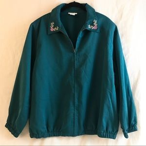 Alfred Dunner 18W Green Embroider Jacket